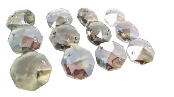 Satin Grey 14mm Octagon Beads Chandelier Crystals 2 Holes - ChandelierDesign