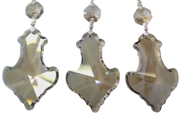 Satin Grey Pendant Chandelier Crystal Ornament, Asfour Lead Crystal #915, Pack of 5 - ChandelierDesign