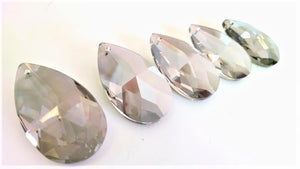 Satin Grey Teardrop Chandelier Crystals, Asfour #872, Pack of 5 - ChandelierDesign
