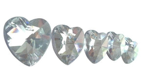Silver Heart Chandelier Crystals Prisms 28mm Pack of 5 - ChandelierDesign