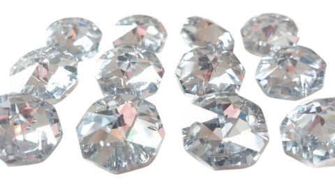 Silver Chandelier Crystal Octagon Prisms 14mm Beads