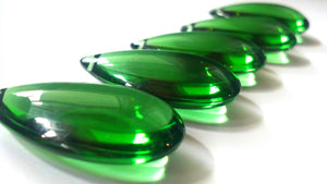 Green Smooth Teardrop, 38mm Chandelier Crystals, Pack of 5 - ChandelierDesign