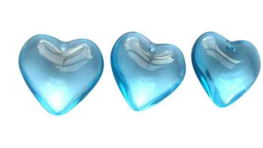 Sky Blue Smooth Heart 25mm Chandelier Crystals Pack of 5 - ChandelierDesign