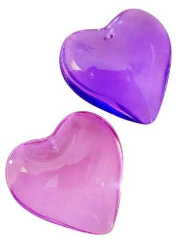 2 Smooth Heart Chandelier Crystals Prisms 35mm Violet and Lilac - ChandelierDesign
