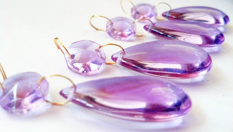 Smooth Teardrop Chandelier Crystal Prism Ornament 38mm Lilac - ChandelierDesign