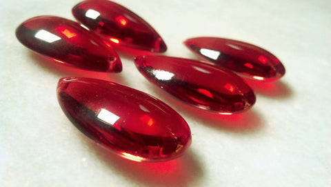 5 Red Smooth 38mm Teardrop Chandelier Crystals - ChandelierDesign