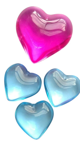 Set of 4 crystal hearts pink and blue