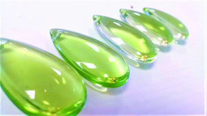 Spring Green Smooth Teardrops Chandelier Crystals, 38mm Pack of 5 - ChandelierDesign