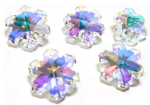 Iridescent AB Snowflake Chandelier Crystals, 20mm Pendants Pack of 5 - ChandelierDesign