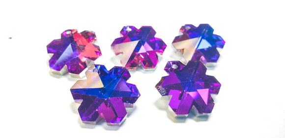 Metallic Purple Snowflake Chandelier Crystals, 20mm Pendants Pack of 5 - ChandelierDesign