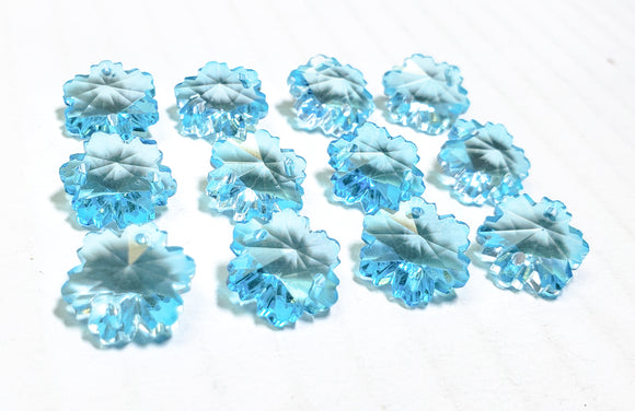 Light Aqua Snowflake 14mm Beads Chandelier Crystals Prisms - ChandelierDesign