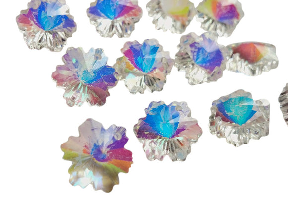 14mm Iridescent AB Chandelier Crystal Snowflake Beads - ChandelierDesign