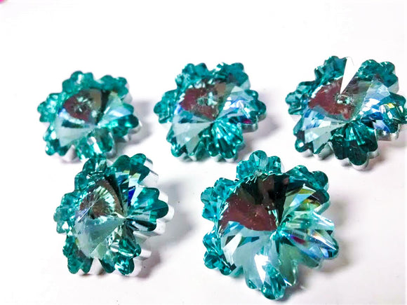 Metallic Aqua Snowflake Chandelier Crystals, 30mm Beads Pack of 5