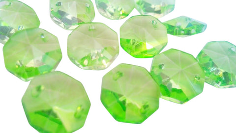 Spring Green Chandelier Crystal Octagon Prisms 14mm Beads - ChandelierDesign