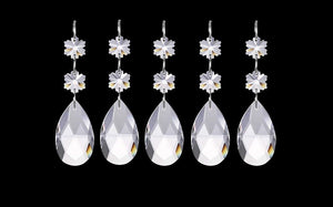 Clear Teardrop Chandelier Crystals, Ornament with Snowflakes, Pack of 5 - ChandelierDesign