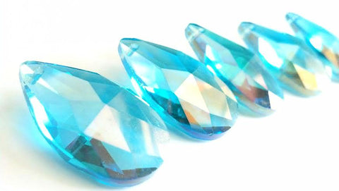 iridescent aqua chandelier crystal teardrop