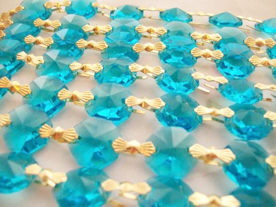 Aquamarine Chandelier Crystal Garland Yard of Prisms - ChandelierDesign