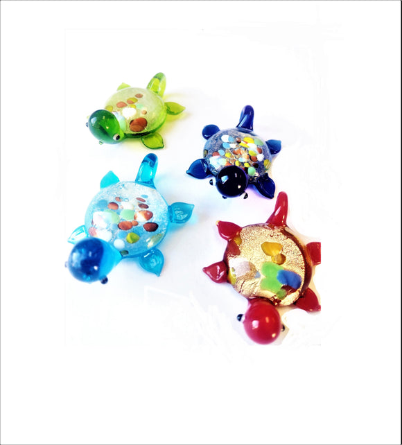 Glass Lampwork Turtle Pendants, Aqua Red Blue Green Suncatchers - ChandelierDesign