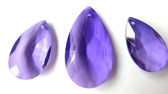 3pc Violet Teardrop Chandelier Crystals, Purple Set For Princess Crowns - ChandelierDesign