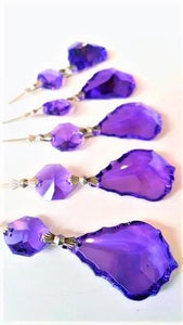 Violet French Cut Chandelier Crystals Pack of 5 Ornaments - ChandelierDesign