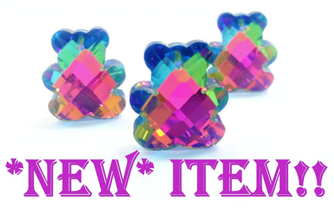 3 Teddy Bear Vitrail Crystal Pendants Chandelier Crystal Rainbow 30mm - ChandelierDesign