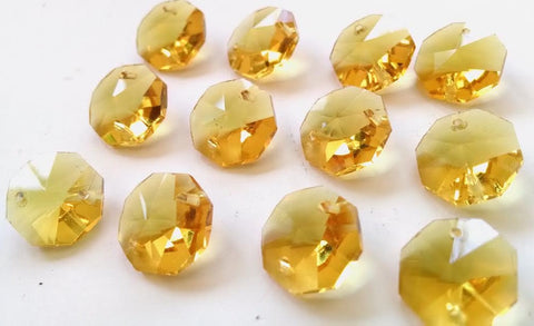 Yellow Chandelier Crystal Octagon Prisms 14mm Beads