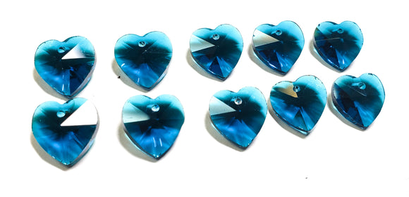 Heart Zircon Blue Chandelier Crystals 14mm, Pack of 10 - ChandelierDesign