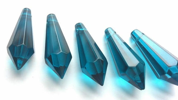 Zircon Blue Icicle Chandelier Crystals, Pack of 5 Pendants - ChandelierDesign