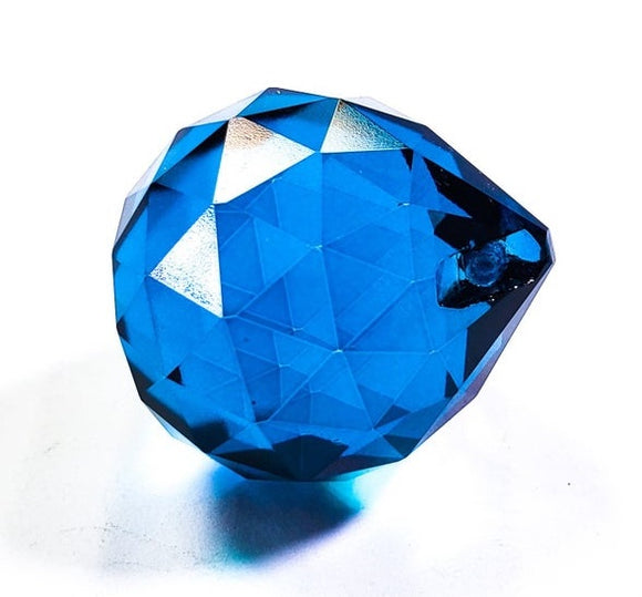 Zircon Blue Chandelier Crystal Faceted Ball Prism - ChandelierDesign