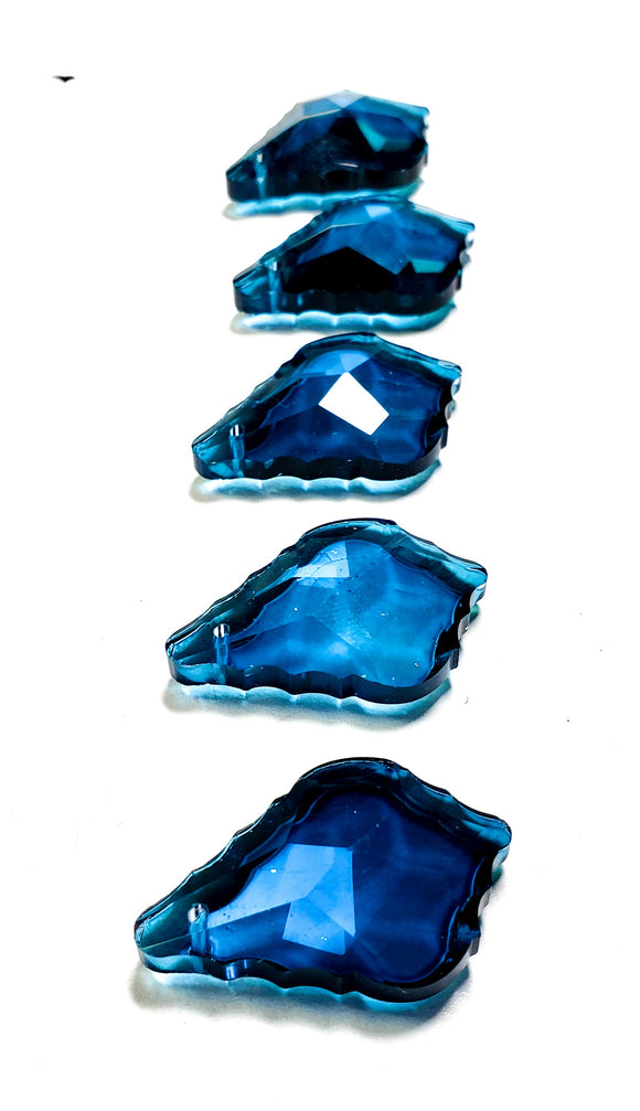 Zircon Blue French Cut 38mm Chandelier Crystals, Pack of 5 Pendants - ChandelierDesign