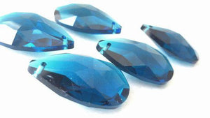 Zircon Blue Teardrop Chandelier Crystals, Pack of 5 Pendants - ChandelierDesign