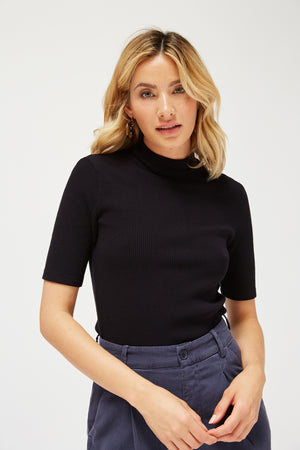 Sweater Rib Mock Neck