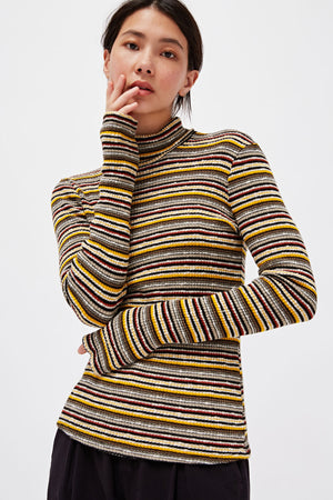 Striped Rib Turtleneck