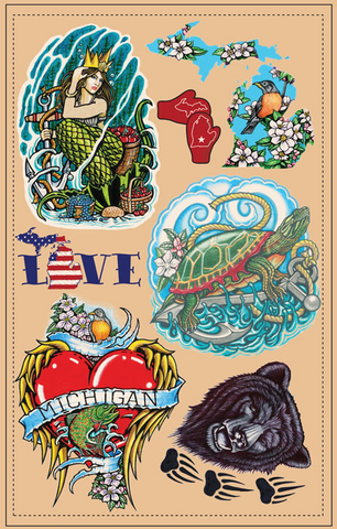 "Wholesale Michigan ""Old School"" Temporary Tattoos Vol. 1"