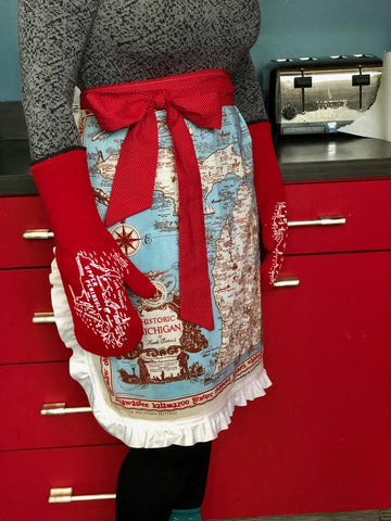 Wholesale Ruffled, Handmade Michigan Map Apron