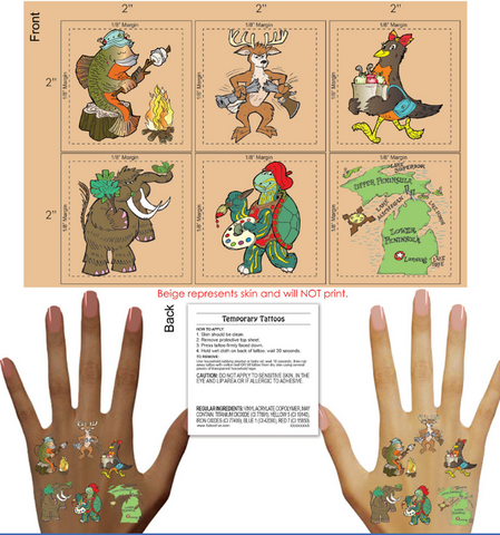 "Wholesale Temporary Tattoos - ""Old Maid in Michigan"" Character Tattoos"