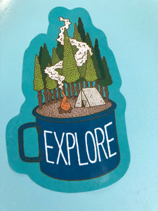 Explore Camp Mug Sticker