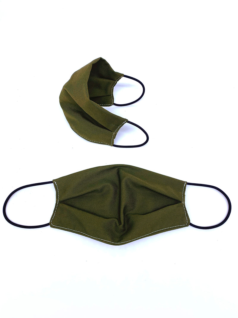 Olive Eco-Cotton Twill Reusable Face Mask