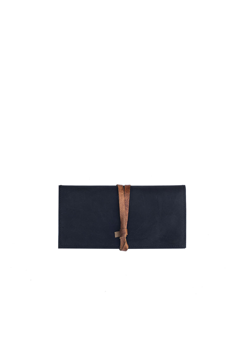 Shema Wallet + Clutch, Black and Honey Leather