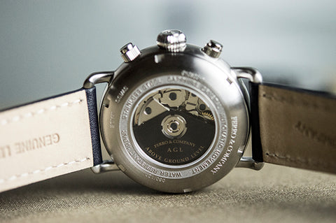 Ferro and Company Swiss Made Valjoux Movement Watch back side