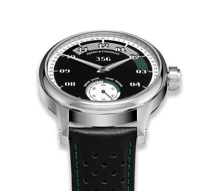 A green trim vintage style racing watch