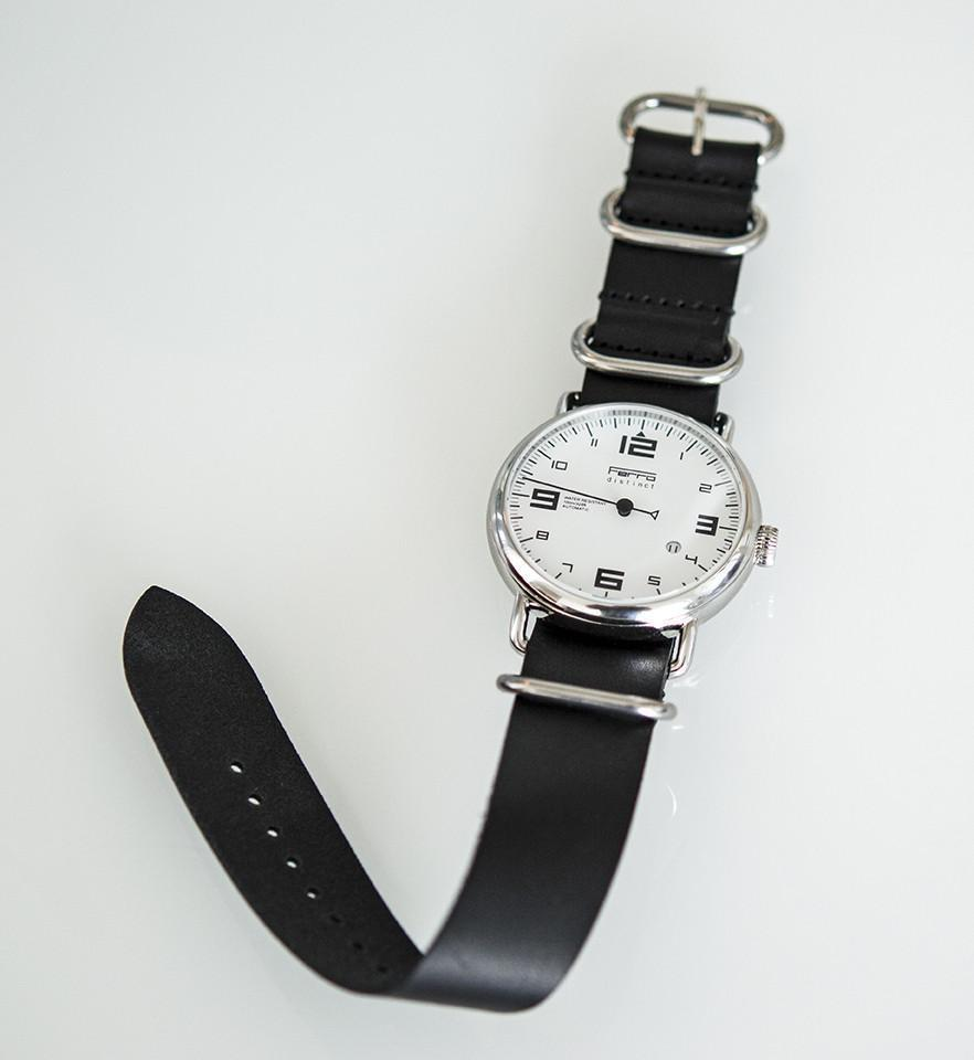 Zulu Leather Strap Black Ferro Watches