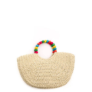 Ball Beaded Handle Braided Tote by Anarchy Street