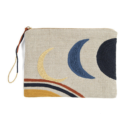 Embroidered Linen Pouch by Printfresh