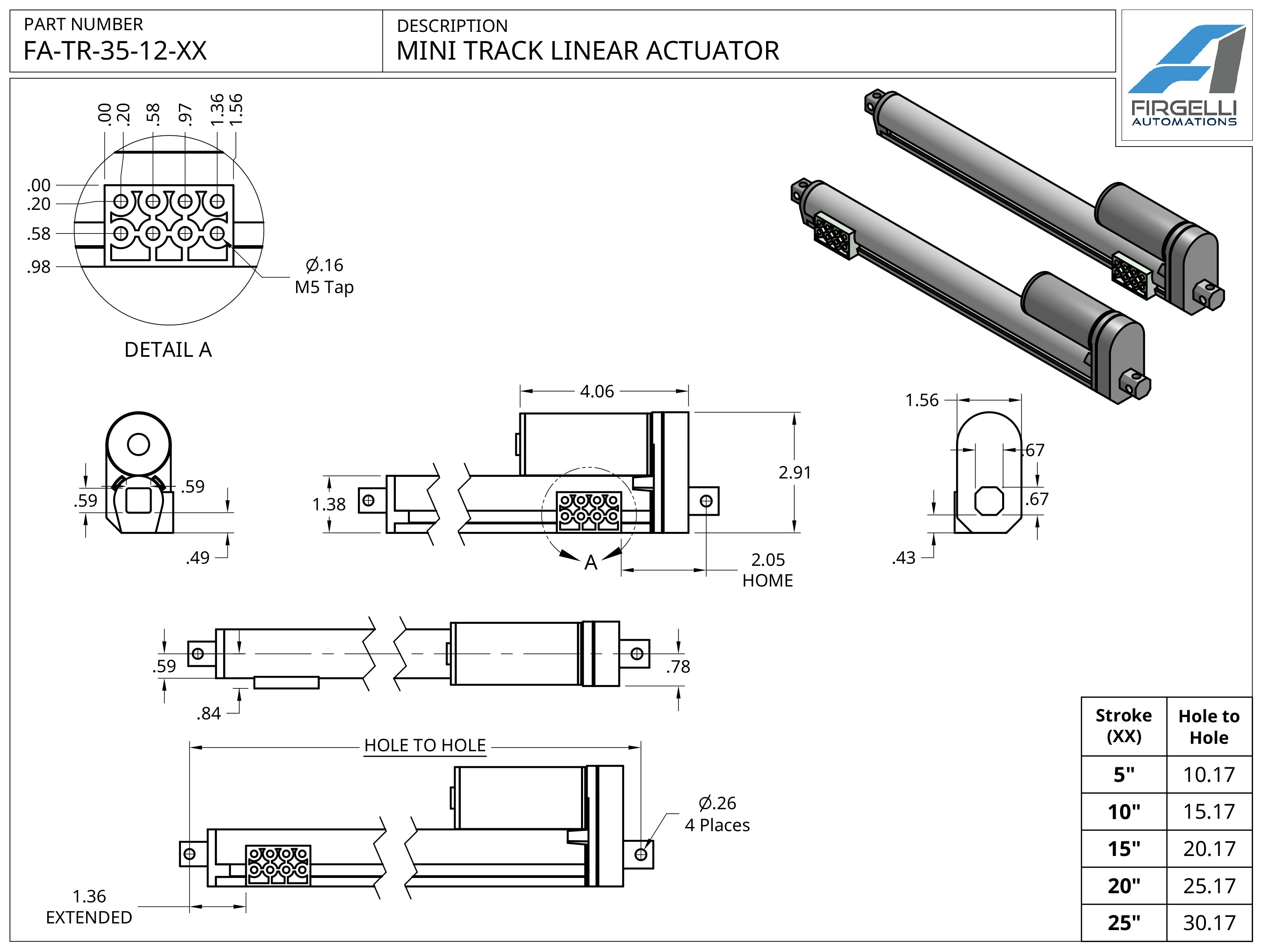 Mini Track Actuator Technical Drawing