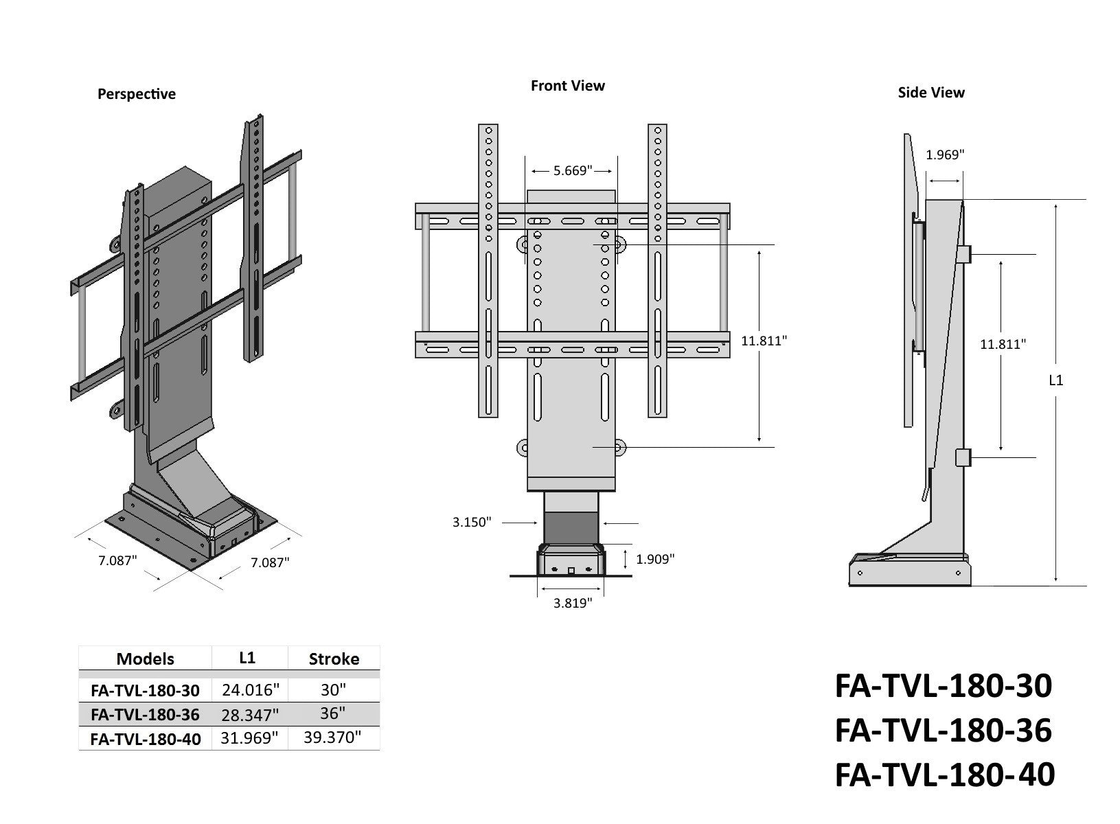 TVL-180 Lift Dimensions