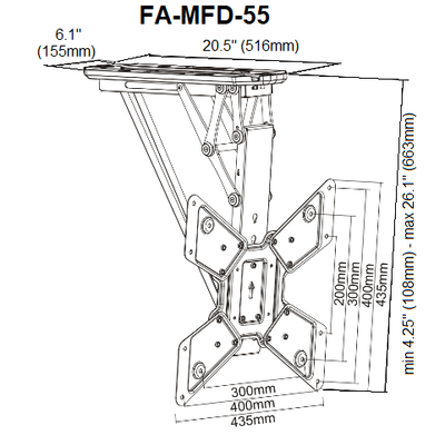 Motorized Flip Down TV Ceiling Mount FA-MFD-55