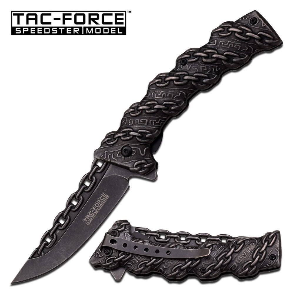 Tac-Force Assisted 3.5 in Blade Stonewash Stainless Handle