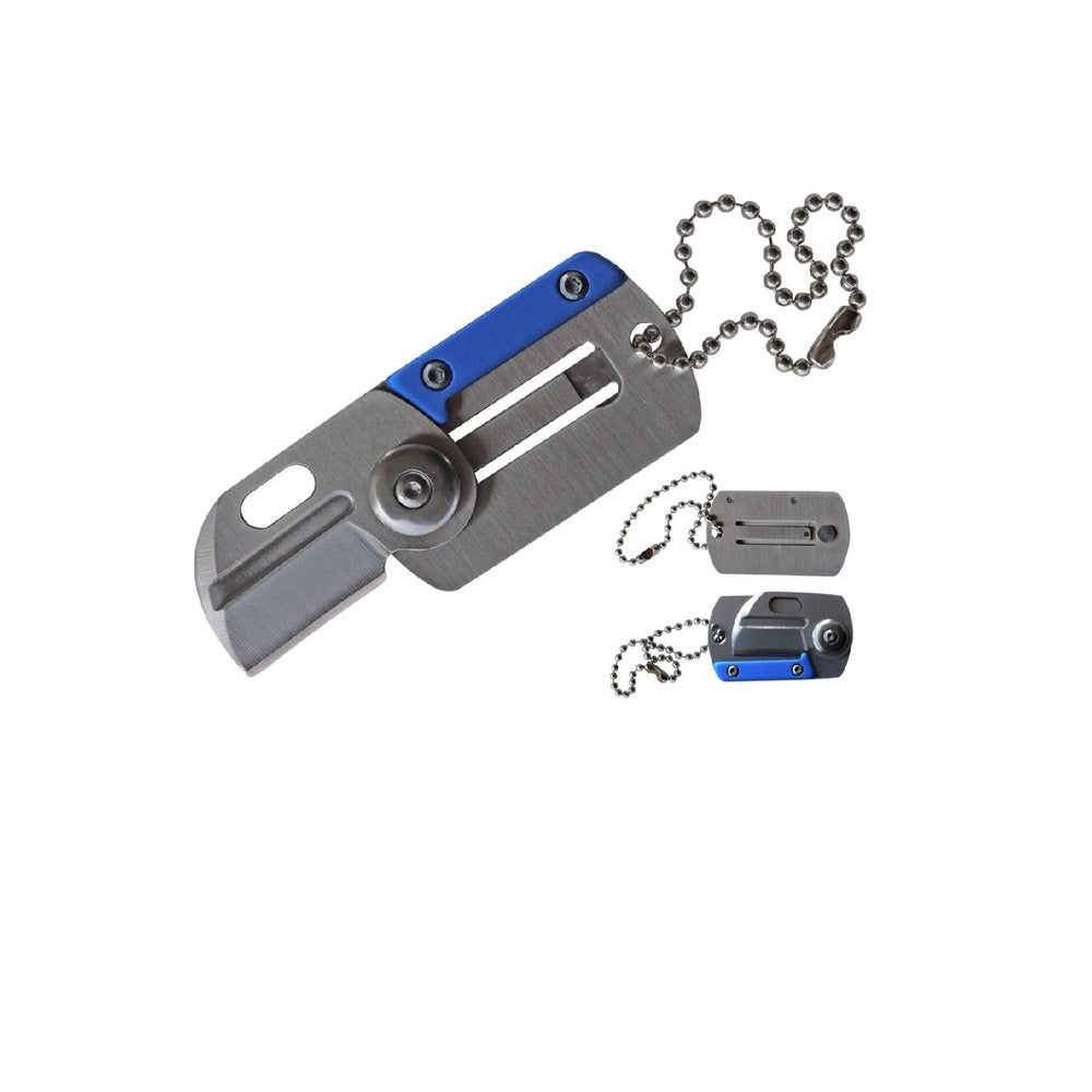 Impulse Product Dog Tag Folder 1.6 in Blade Blue SS Handle