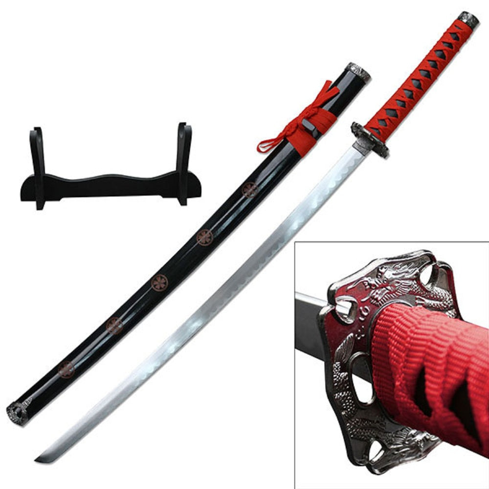 Samurai Katanas 26.5in Carbon Steel Blade w/Wood Display